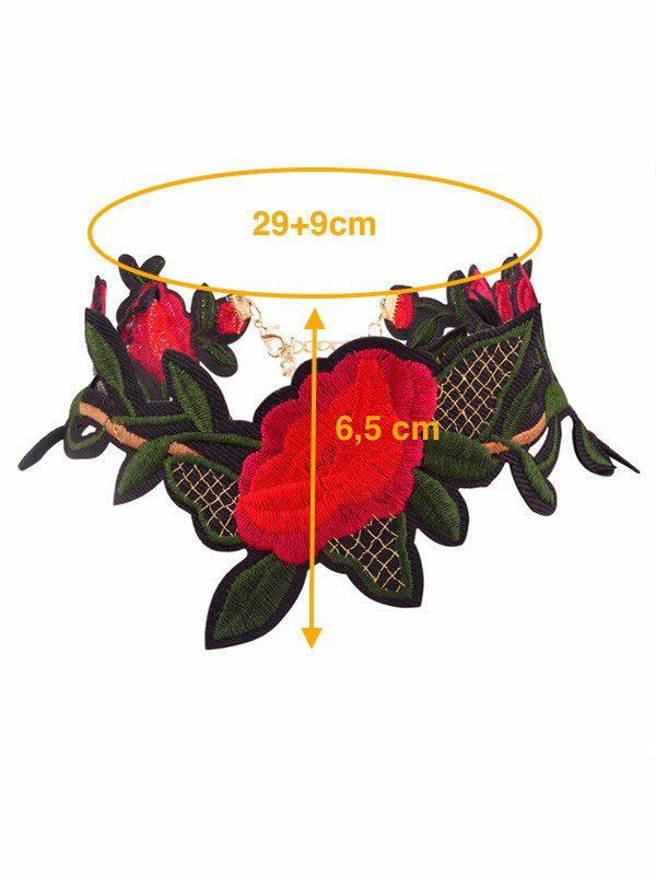 gargantilla bohemia de flores rojas medidas