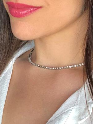 gargantilla plateada efecto diamantes fina modelo