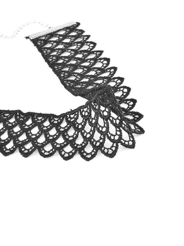 collar choker de encaje negro ancho vintage