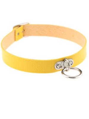 collar choker de cuero amarillo con aro punk kawaii