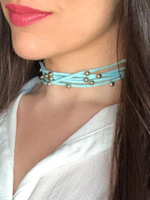 choker azul turquesa ancho