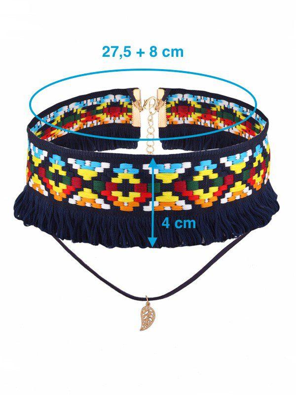 collar pegado al cuello bohemio azul ancho medidas
