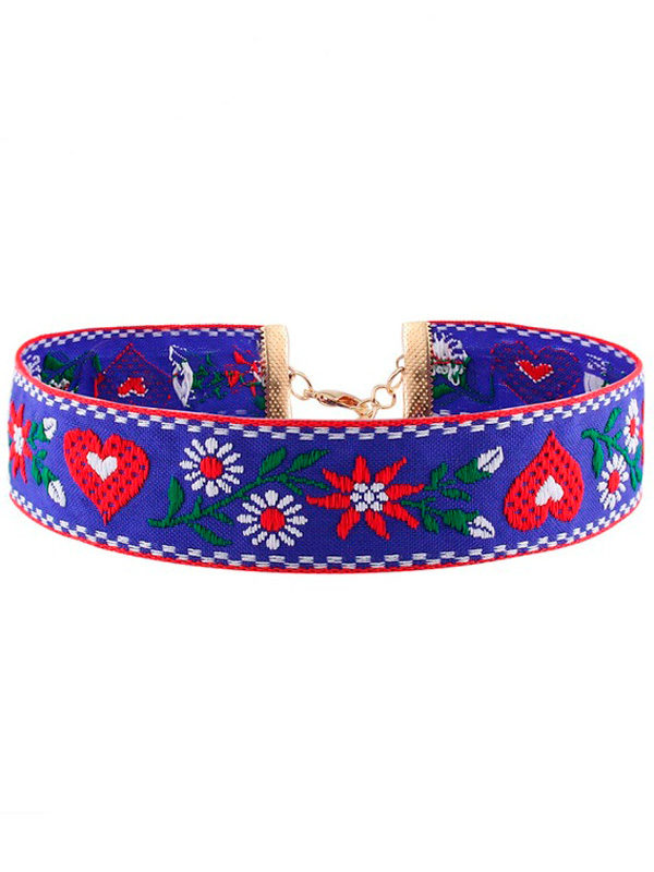 choker gargantilla azul bordado con flores y corazones collar pegado al cuello