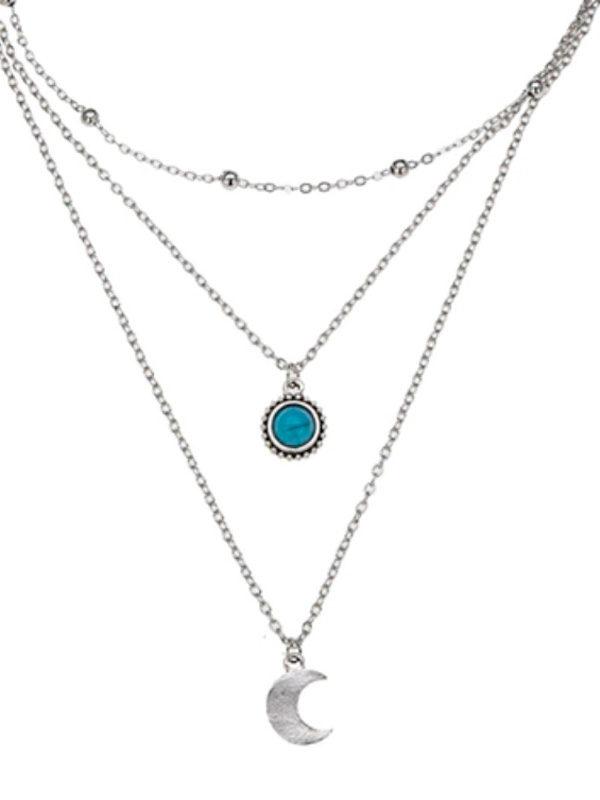 collar bohemio con luna plateada y detalle azul