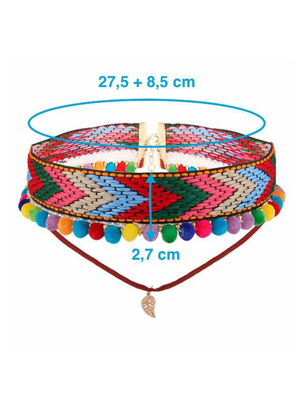 collar bordado rojo con bolas de colores medidas