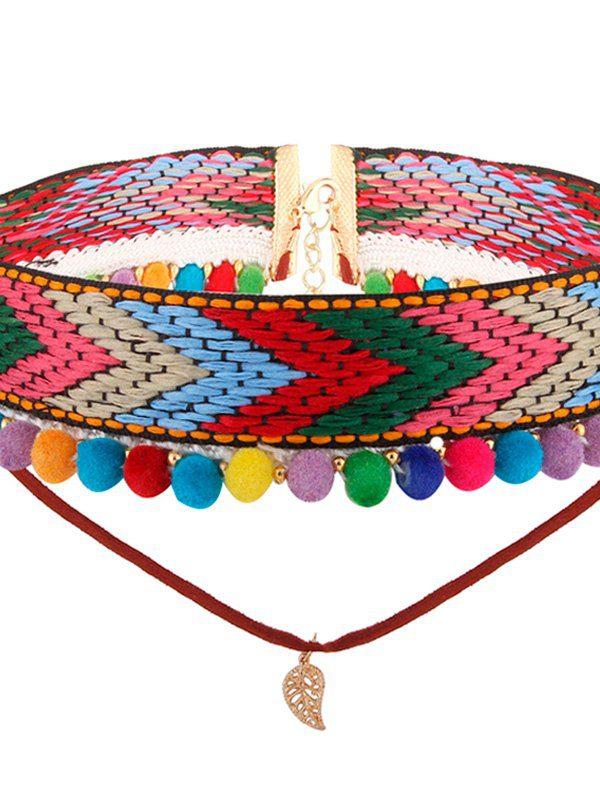 gargantilla roja con bolas de colores y pluma