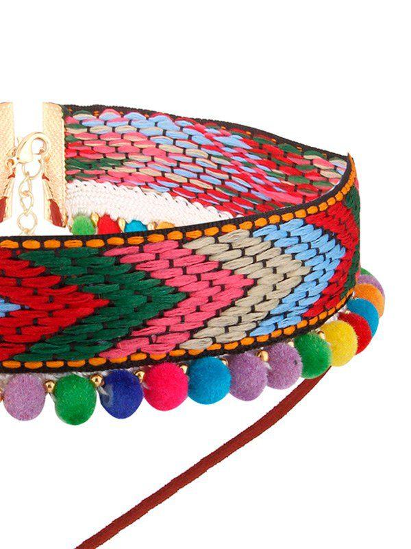 collar bohemio rojo con bolas de colores