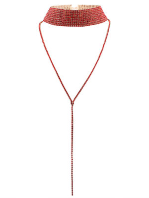 choker gargantilla granate brillante con collar largo