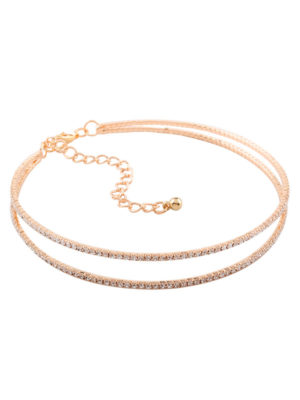 choker dorado efecto diamante doble