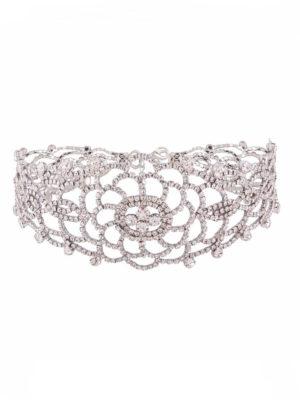 choker efecto diamantes con forma de flor producto
