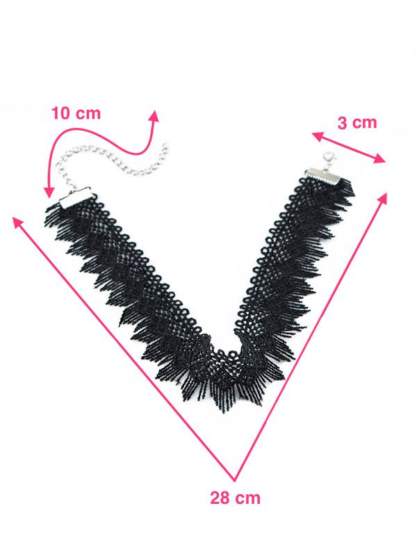 collar choker bordado negro medidas