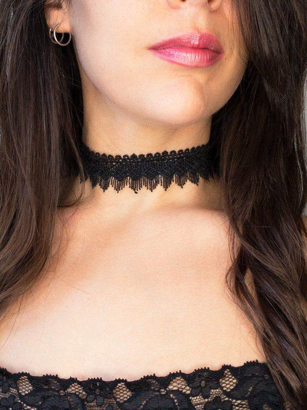 collar pegado al cuello de encaje negro vintage