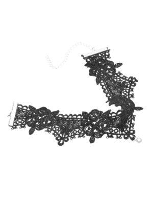 gargantilla de encaje negra con perla
