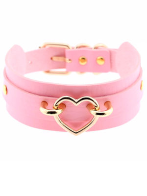 collar choker kawaii rosa ancho con corazon dorado