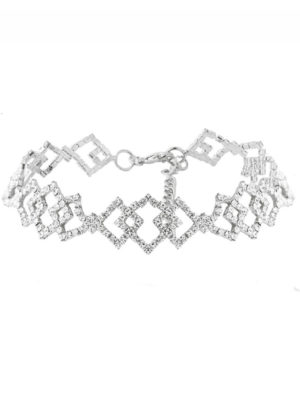 choker necklace diamantes plateado collar boda