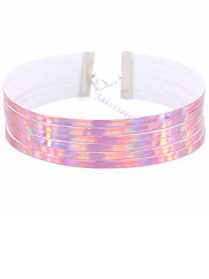 choker reflectante holografico rosa brillante multicapa