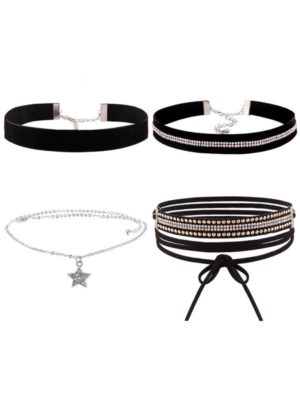 set de chokers color negro