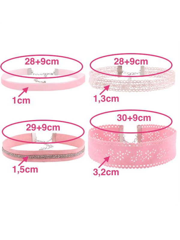 set de chokers color rosa medidas