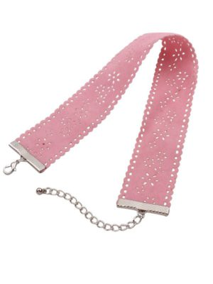 collar choker de terciopelo rosa ancho