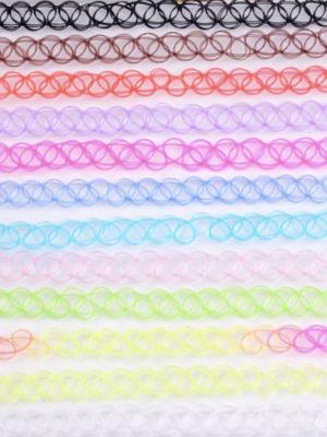 set collar choker tipo tatuaje de colores para mujeres y niñas