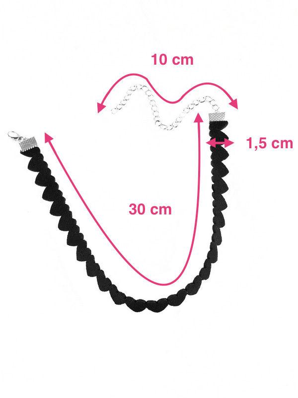 gargantilla de tela negra con corazones medidas