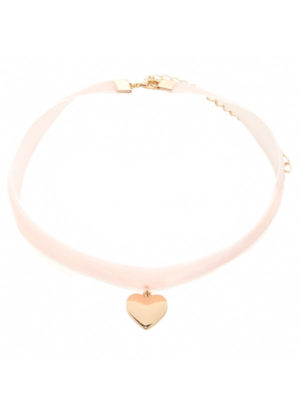 collar pegado al cuello de color rosa con corazon