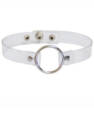 collar choker transparente con aro metálico de adorno